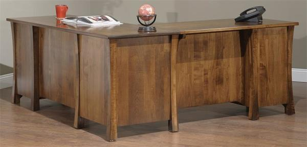 Amish Woodbury L-Desk with Optional Hutch Top