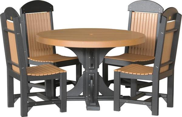 LuxCraft 4' Poly Round Table Set with Four Regular Chairs