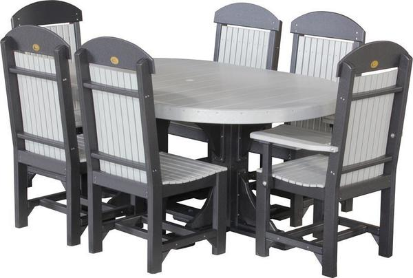 LuxCraft Poly Captain Chair Oval Dining Set