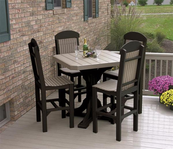 "LuxCraft 41"" Square Poly Table Set with Four Regular Dining Chairs"