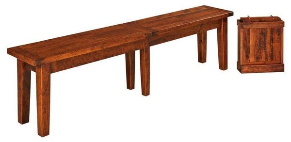 Amish Biltmore Plank Top Extendable Dining Bench