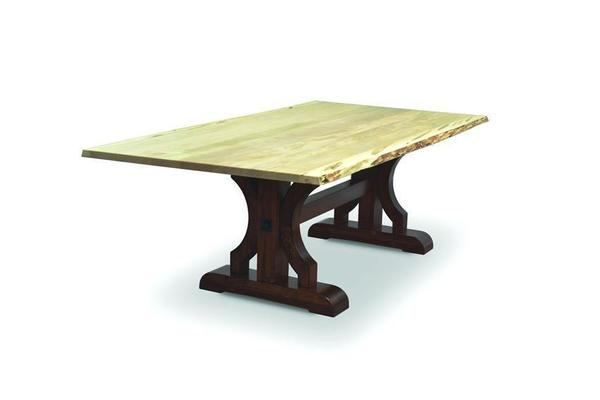 Amish Barstow Trestle Table with Live Edge
