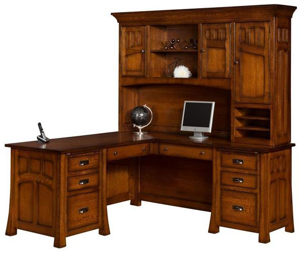 Amish Bridgeport Mission L Desk with Optional Topper