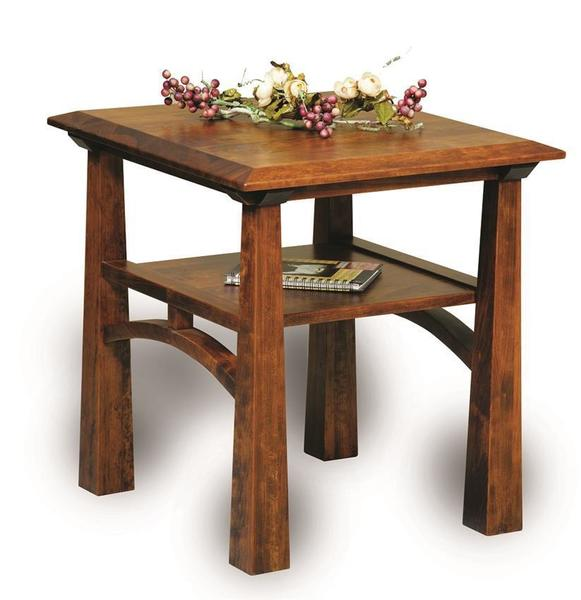 Amish Artesa Open End Table with Shelf