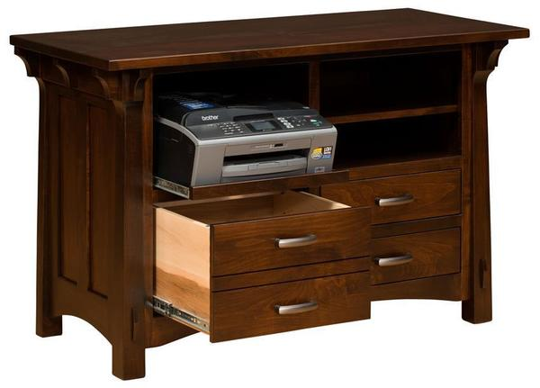 Amish Manitoba Printer Stand with Lateral File Cabinet