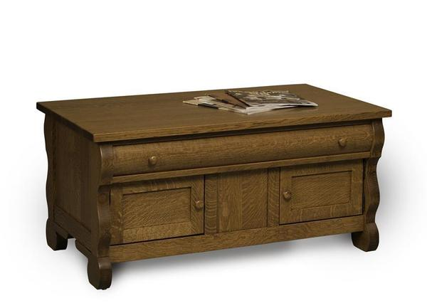 Amish Old Classic Sleigh Enclosed Coffee Table with Drawer and Doors