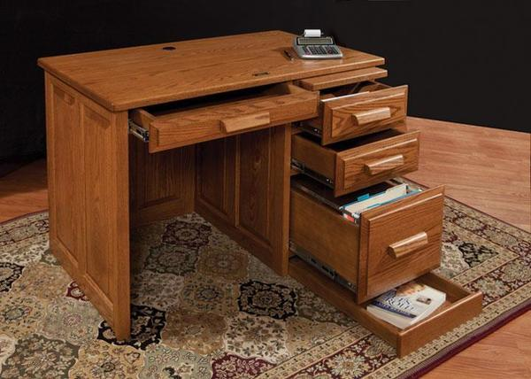 """Amish Traditional 42"""" Flat Top Desk with Raised Panel Back"""