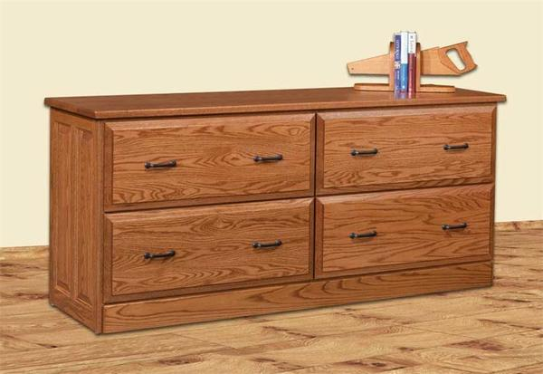 Amish Four Drawer Double Lateral File Credenza