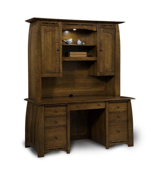 Amish Boulder Creek Mission Desk with Hutch Top
