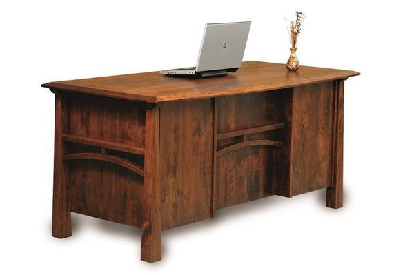Amish Artesa Executive Desk with Finished Back and Curved Top