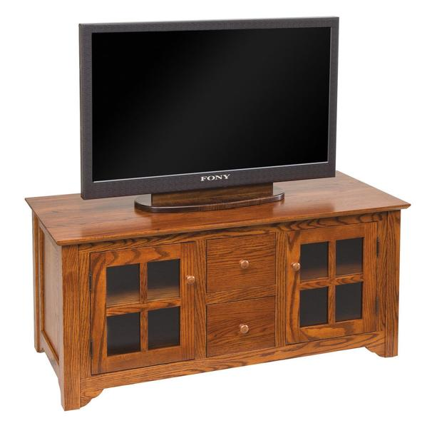 """Amish 50"""" Flush Mission TV Stand with Drawers"""