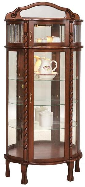 Amish Bonnet Top with Leaded Glass Curio Cabinet