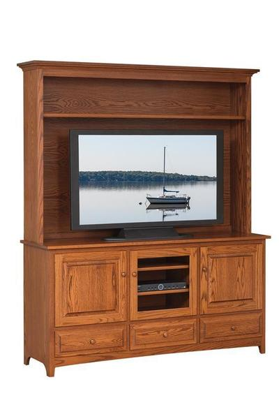 "Amish 66"" Shaker TV Stand with Hutch Top"