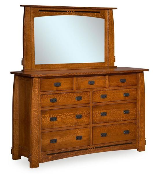 Amish Collette Dresser with Nine Drawers and Optional Mirror