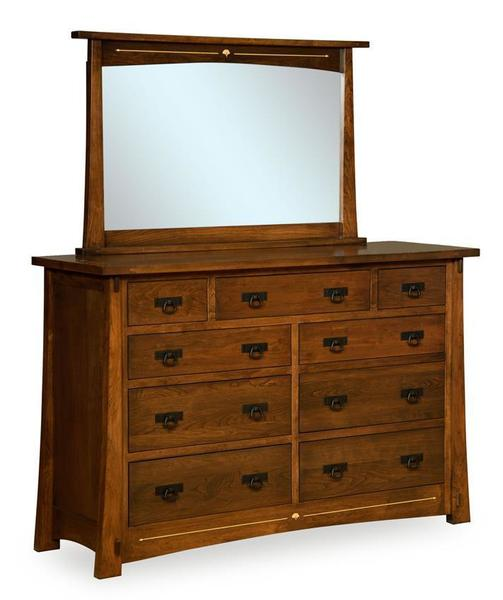 Amish Mesa Dresser with Nine Drawers and Optional Mirror