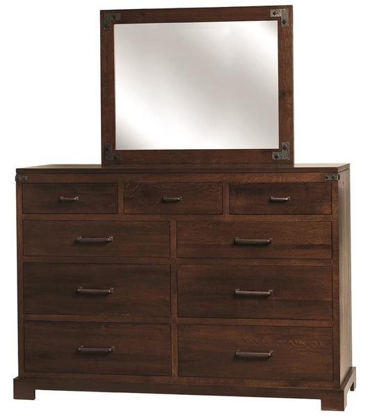 Amish Mary Ann Nine Drawer Dresser with Optional Mirror