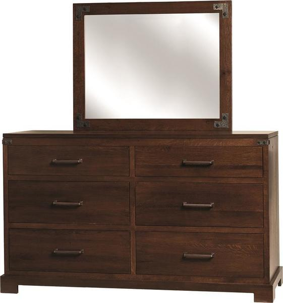 Amish Mary Ann Six Drawer Dresser with Optional Mirror