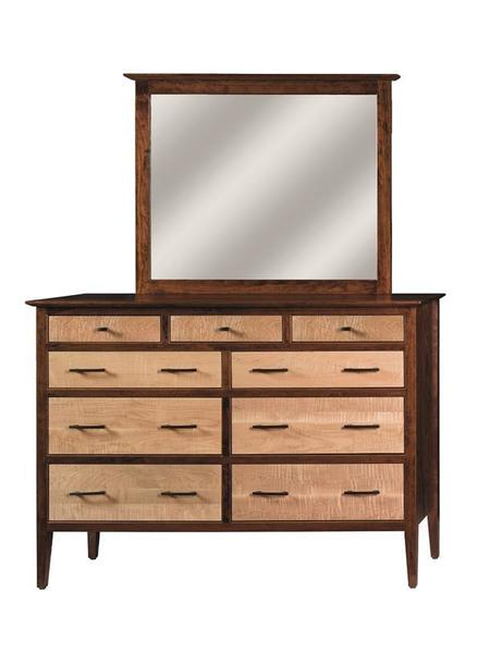 Amish Waterford Nine Drawer Dresser with Optional Mirror