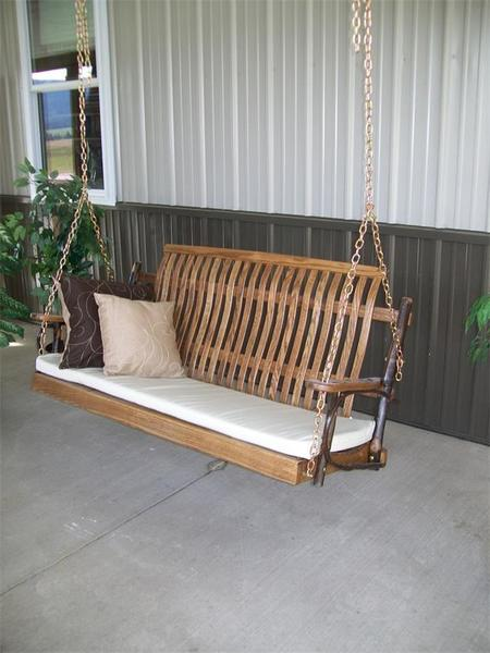 Amish Rustic Hickory Porch Swing with Walnut Finish