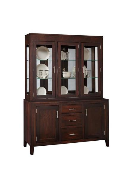 Amish Tuscany Three Door Mirror Back Hutch