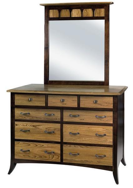 Amish Christy Nine Drawer Dresser with Optional Mirror
