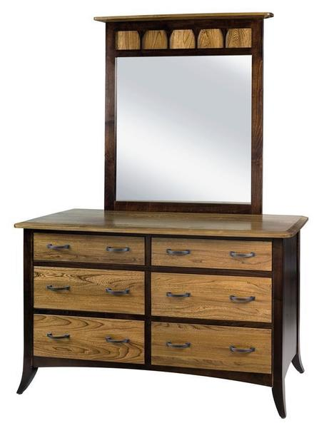 Amish Christy Six Drawer Dresser with Optional Mirror