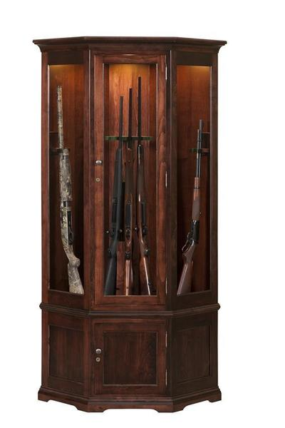 Traditional American Made Corner Gun Cabinet with Carousel