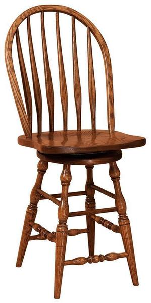 Amish Bent Feather Swivel Windsor Bar Stool