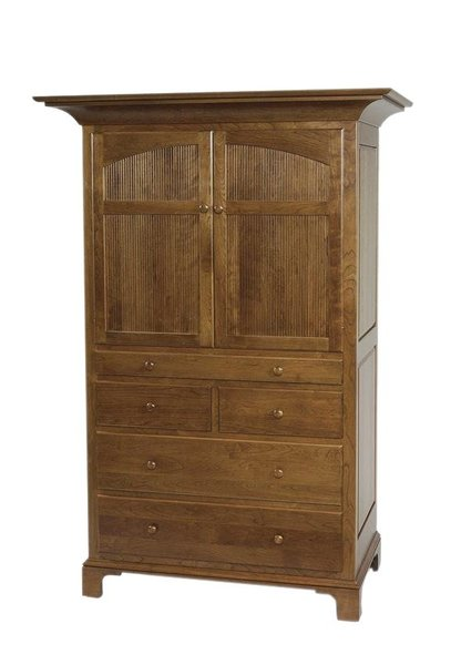 Amish New Bedford Shaker Tray Armoire