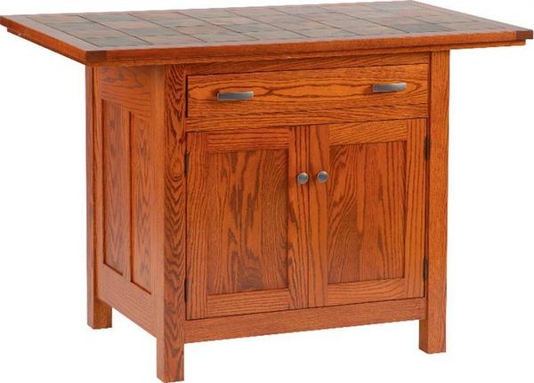 Amish Brookline Mission Kitchen Island with Two Doors