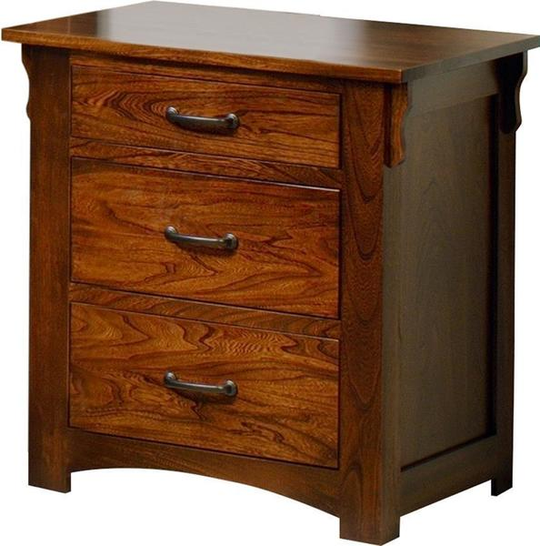 Amish Fairview Mission Three Drawer Nightstand