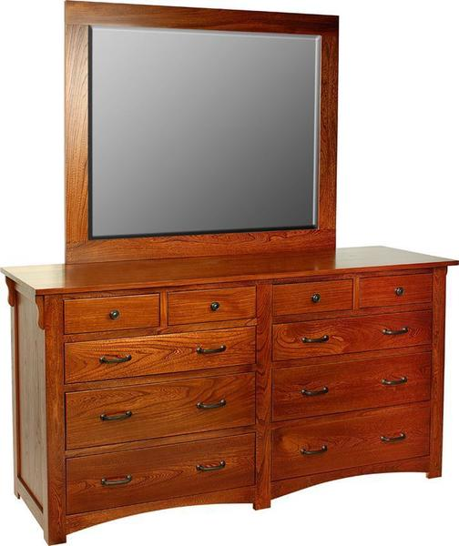 """Amish Fairview Mission 68"""" Dresser with Optional Mirror"""