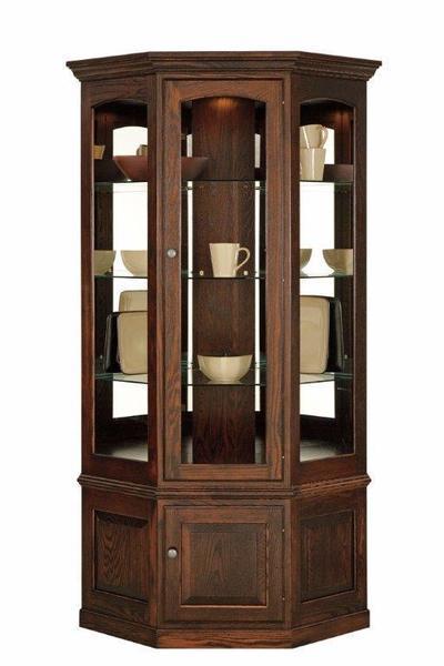 American Hardwood Corner Curio Cabinet