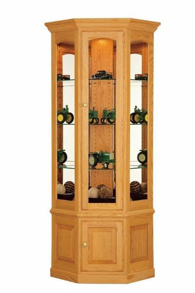Deluxe Traditional Small Corner Curio Cabinet From