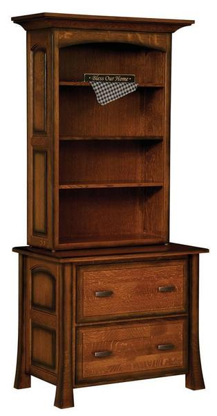 Amish Olde Century 2 Drawer Lateral File with Optional Bookcase Hutch
