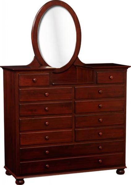 Amish Luellen Studio Dresser with Beveled Oval Mirror