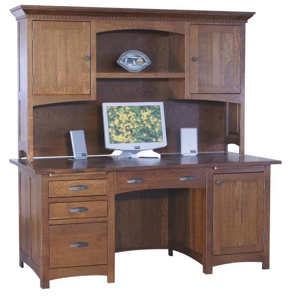 Amish Oakwood Computer Desk with Optional Hutch