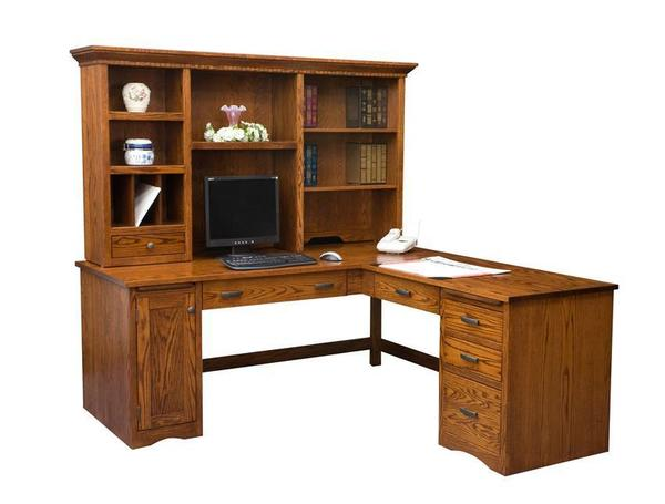 Amish Mission Computer Desk with Return and Optional Hutch