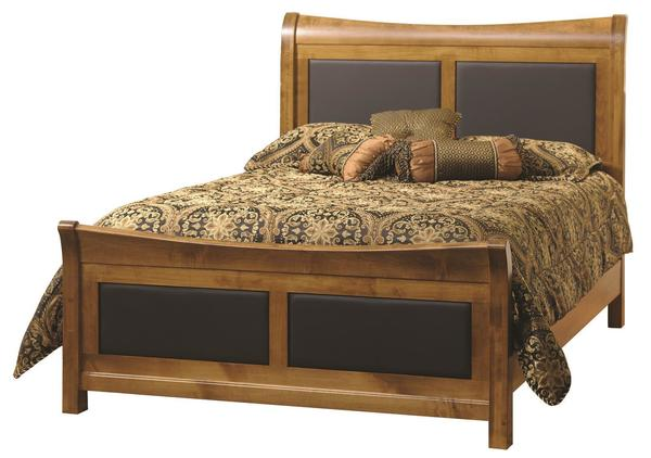 Amish Stratford Leather Inlay Bed