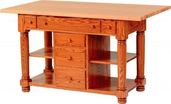 Amish Turned Leg Kitchen Island with Six Drawers
