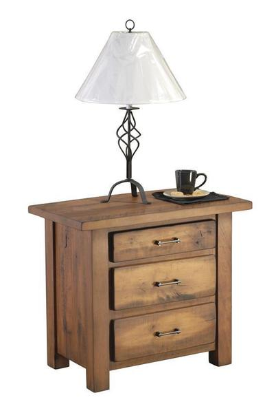 Amish Leihley Hill Rustic Three Drawer Nightstand