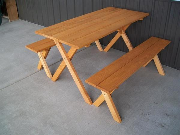 Amish Pine Wood Economy Table with Two Benches