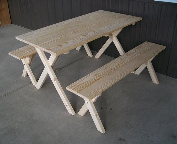 Amish Pine Wood Economy 5' Table with Two Benches