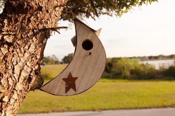 Rustic Moon Garden Bird House