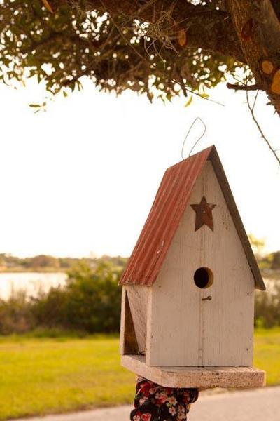 Amish Rustic White Garden Bird House