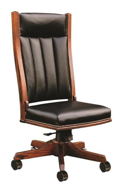 Amish Upholstered Mission Side Desk Chair with Gas Lift