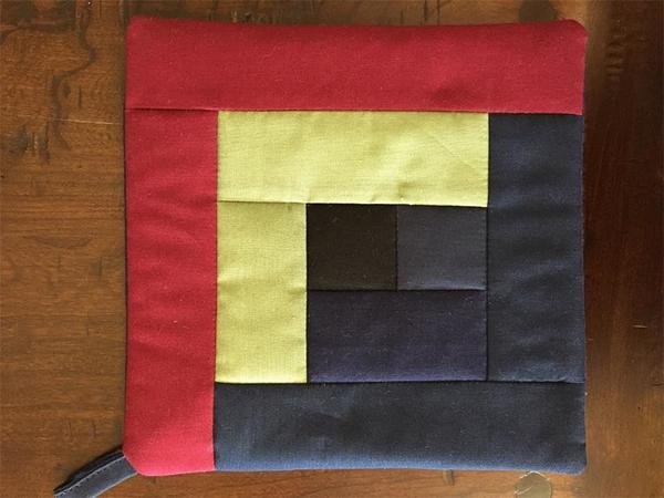 Amish Quilted Log Cabin Hot Pad with Yellow Fabrics