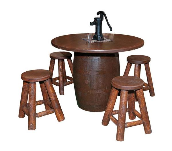 Amish Whiskey Barrel Bar Table With Optional Bar Stools