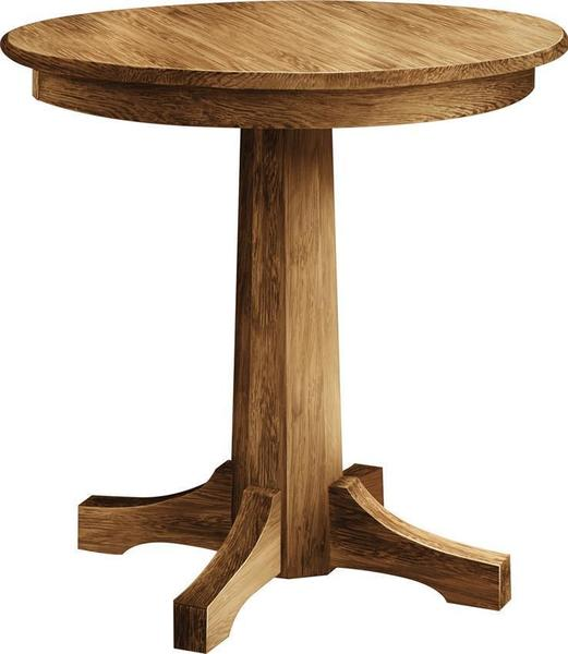 Amish Rustic Plank Top Dining Set Round Pedestal Solid: Pinnacle Round Single Pedestal Pub Table From