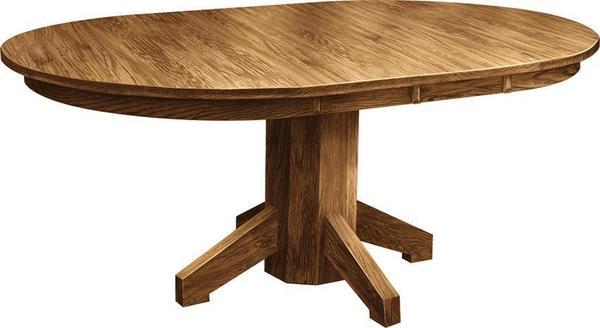 Solid Wood Mission Single Pedestal Dining Room Table